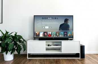 Flat screen TV with TV series on it